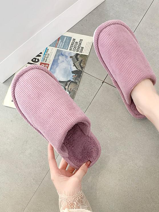 new Solid Color Fuzzy Comfortable Slippers - PURPLE EU 39