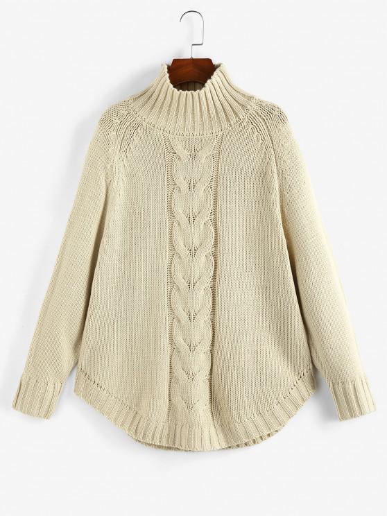 fashion Mock Neck Raglan Sleeve Sweater - LIGHT COFFEE L