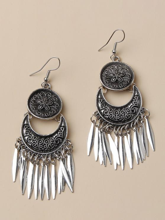 women Flower Embossed Leaf Fringed Drop Earrings - SILVER