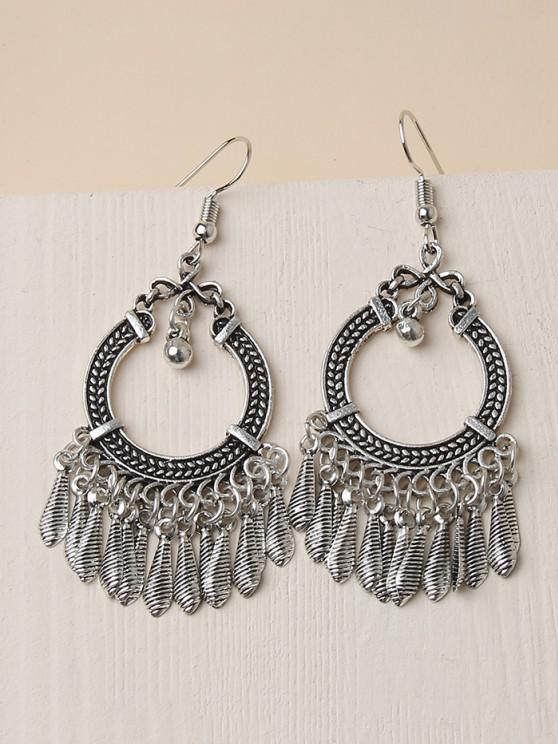ladies Embossed Circle Fringed Drop Earrings - SILVER