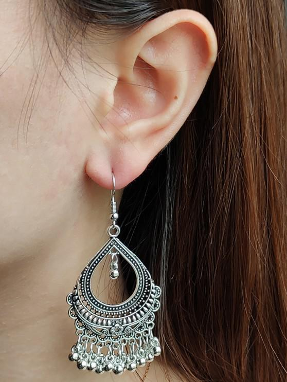 lady Hollow Out Water Drop Fringed Drop Earrings - SILVER