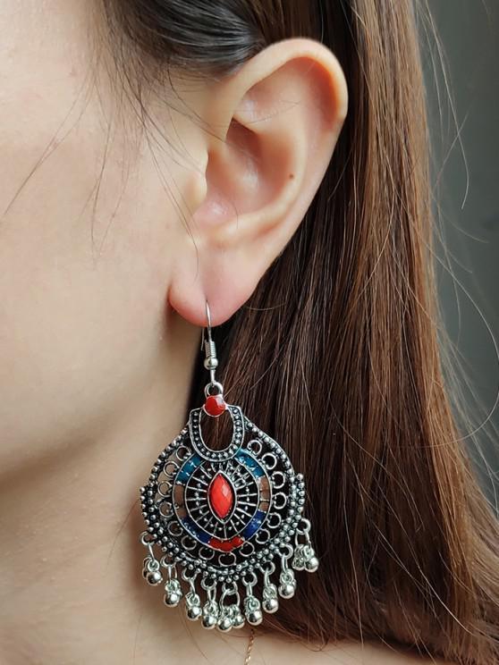 best Faux Gem Ball Fringed Drop Earrings - SILVER