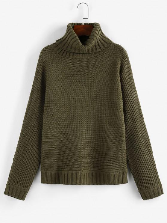 lady ZAFUL Turtleneck Batwing Sleeve Sweater - DEEP GREEN M