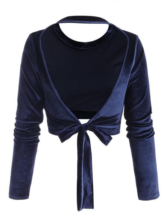 womens Self-tie Open Back Velvet Crop Top - DEEP BLUE L