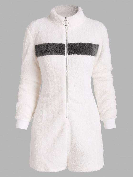 affordable Pull-ring Zip Fluffy Colorblock Lounge Romper - WHITE L