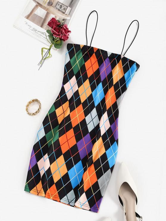 shop ZAFUL Bungee Strap Argyle Bodycon Mini Dress - MULTI-A S