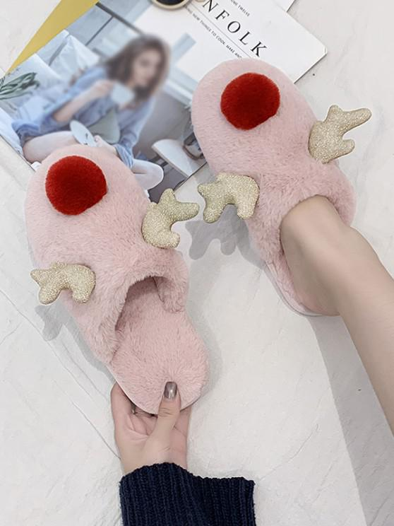 online Christmas Cute Elk Shape Fuzzy Home Slippers - LIGHT PINK EU 39
