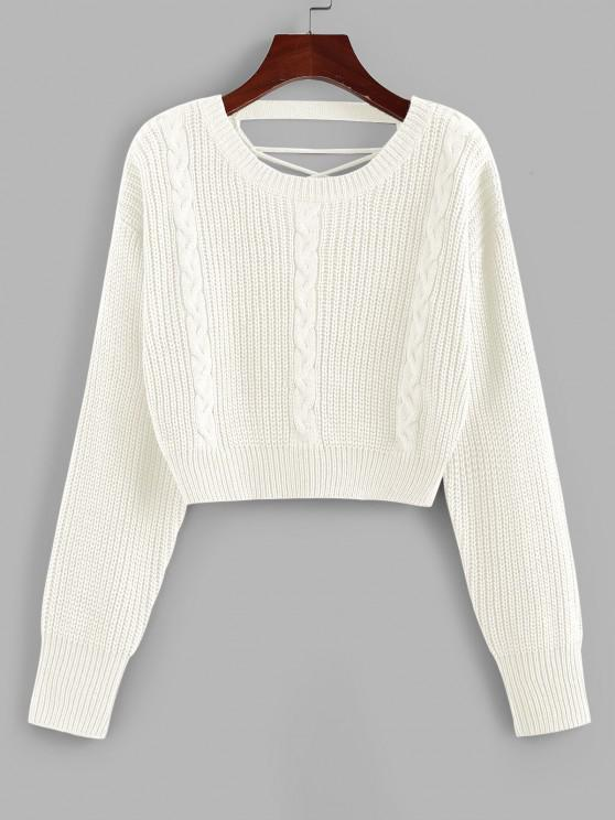 ZAFUL Criss Cross Cable Knit Crop Sweater - أبيض S
