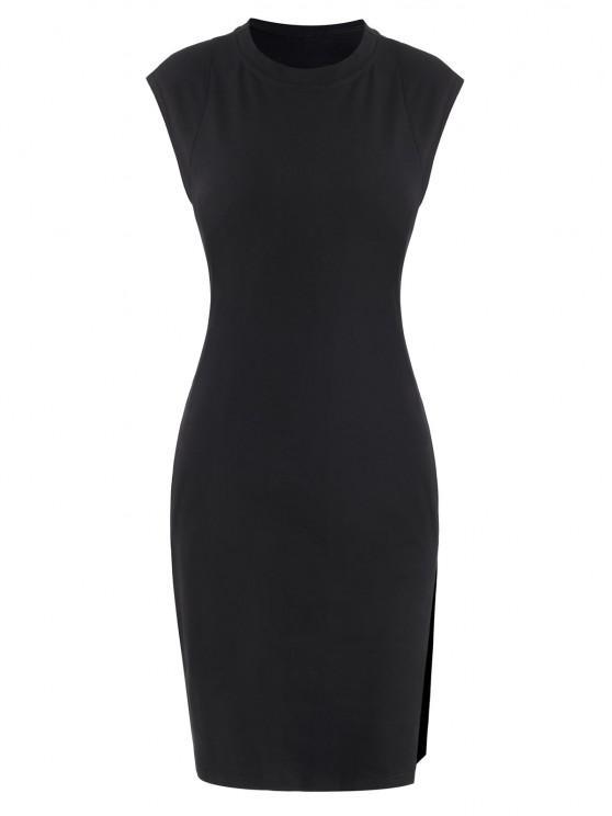 lady Padded Shoulder Front Slit Tank Dress - BLACK S