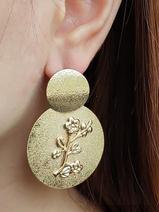 shop Embossed Floral Disc Earrings - GOLDEN