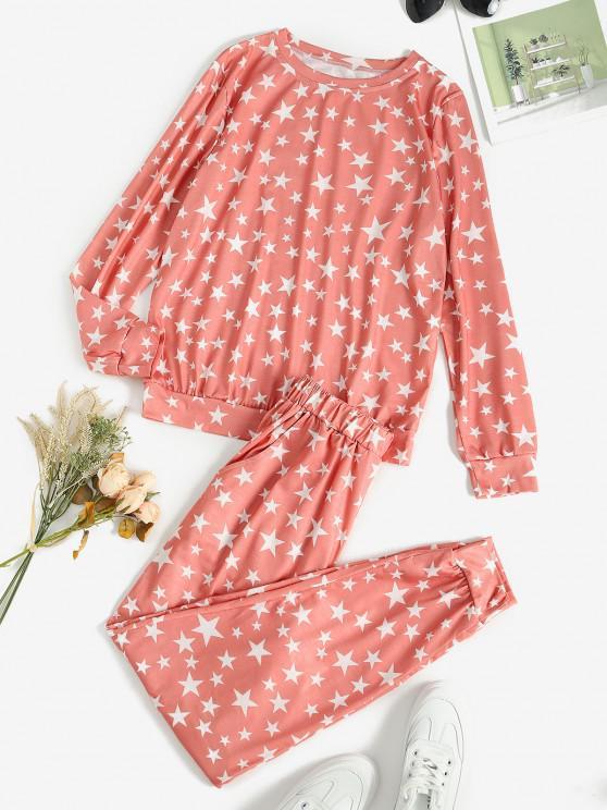 fashion Lounge Star Pocket Pants Set - LIGHT PINK M