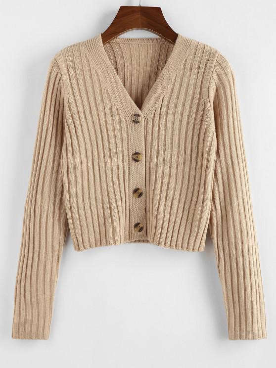 ZAFUL Ribbed Button Up Crop Cardigan - القهوة الخفيفة L