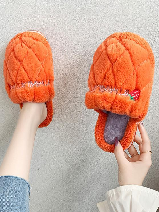 womens Strawberry Pattern Faux Fur Fuzzy Slippers - ORANGE EU 38