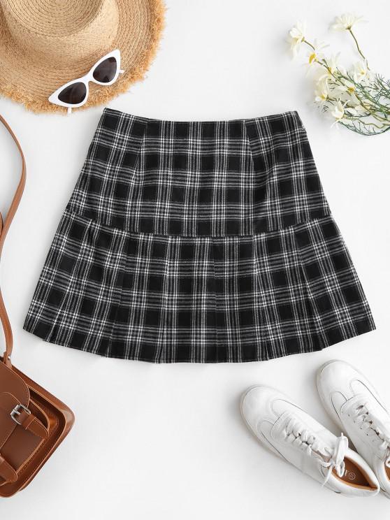 lady ZAFUL Preppy Mini Pleated Skirt - BLACK L