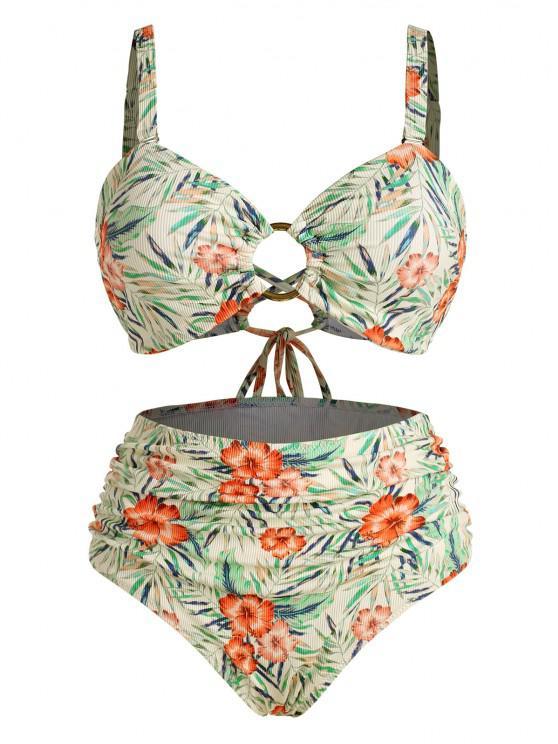 online ZAFUL Plus Size Ribbed Floral Leaf O-ring Ruched Bikini Swimwear - MULTI XL