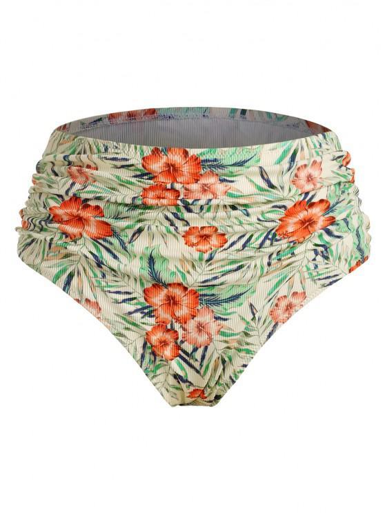 ZAFUL Plus Size Floral Leaf Ribbed Ruched Bikini Bottom - متعدد XL