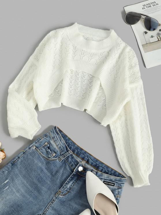 outfits Drop Shoulder Openwork Open Bust High Low Sweater - WHITE ONE SIZE