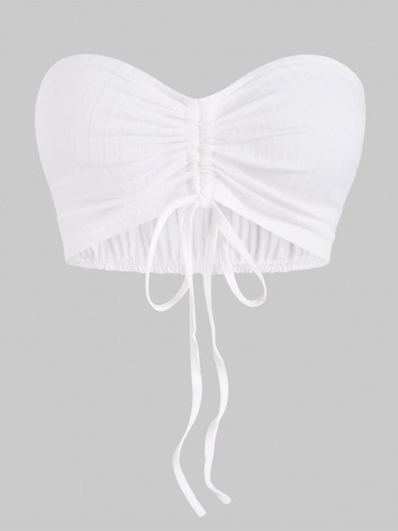 unique Wide Rib-knit Cinched Crop Tube Top - WHITE S