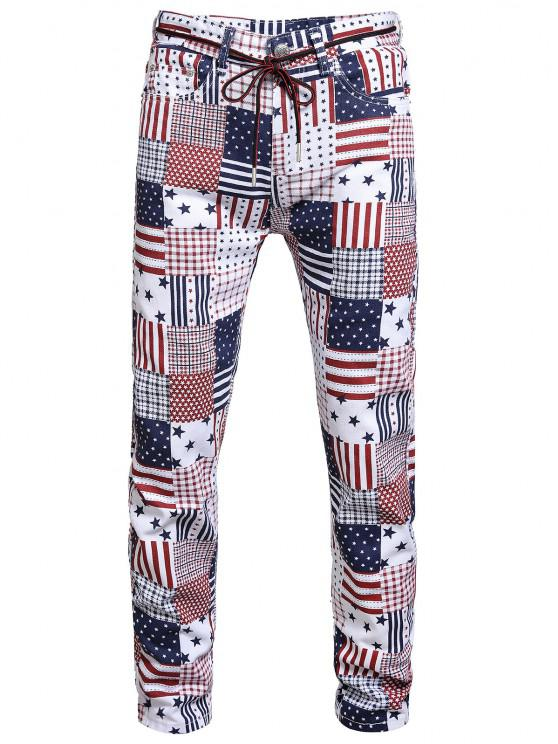 buy American Flag Allover Pattern Denim Jeans - MULTI-A 34