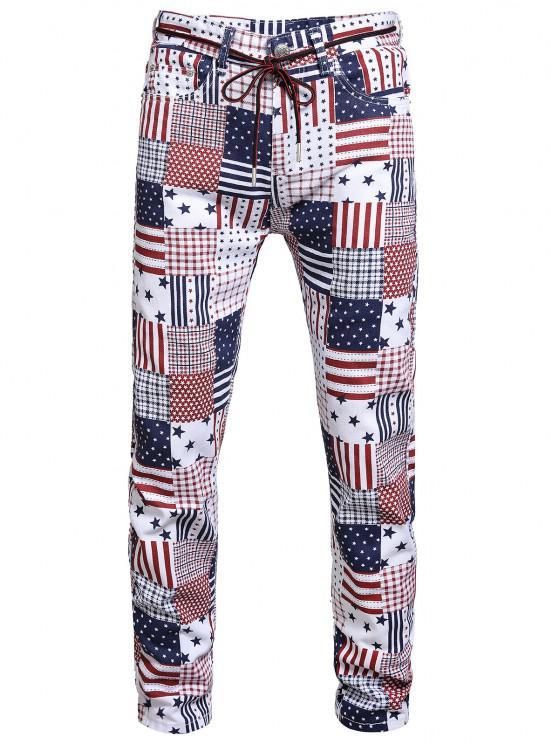 American Flag Allover Pattern Denim Jeans - متعددة-A 34