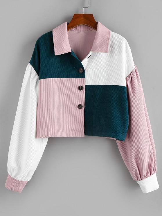 unique ZAFUL Corduroy Colorblock Drop Shoulder Short Jacket - MULTI-A M