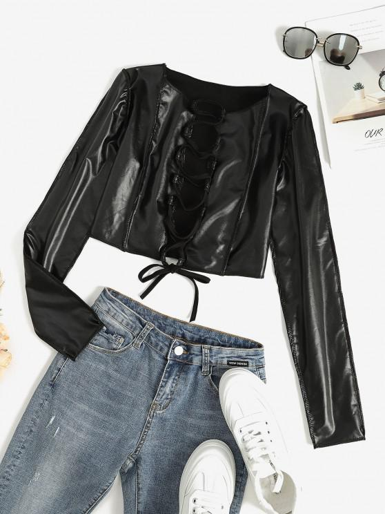 lady Faux Leather Lace Up Stitching Cropped Top - BLACK L