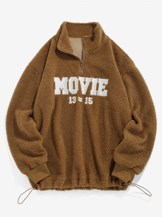 ladies ZAFUL Movie Embroidery Half Zipper Teddy Sweatshirt - COFFEE M