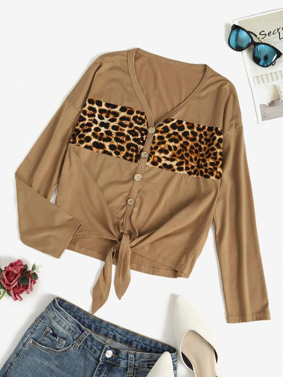 women Button Front Leopard Panel Tie Front Top - DEEP COFFEE L