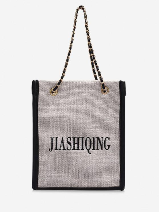 fashion Letter Embroidery Canvas Chain Tote Bag - BLACK