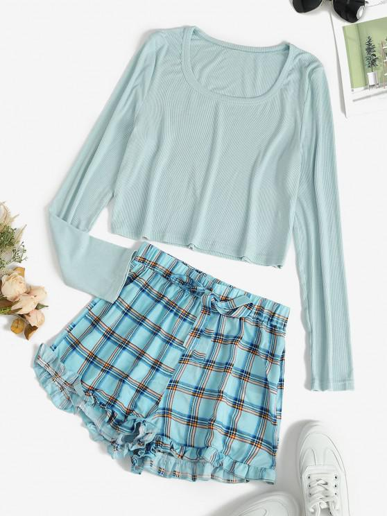 ladies Plaid Ruffle Ribbed Pajama Shorts Set - LIGHT BLUE L