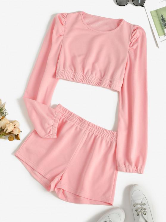 sale Cropped Plain Short Two Piece Sweat Suit - LIGHT PINK M