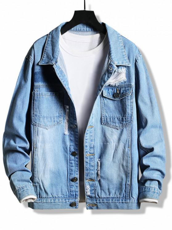 trendy Destroy Wash Flap Pocket Ripped Jean Jacket - BLUE XS