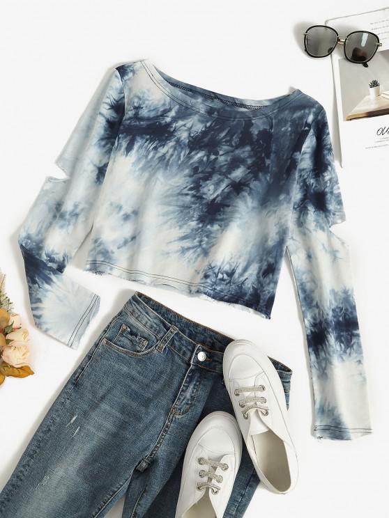 womens Raw Hem Tie Dye Cutout Sweatshirt - BLUE S