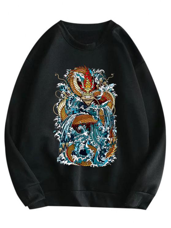Crewneck Fleece Lined Oriental Dragon Print Sweatshirt - أسود S