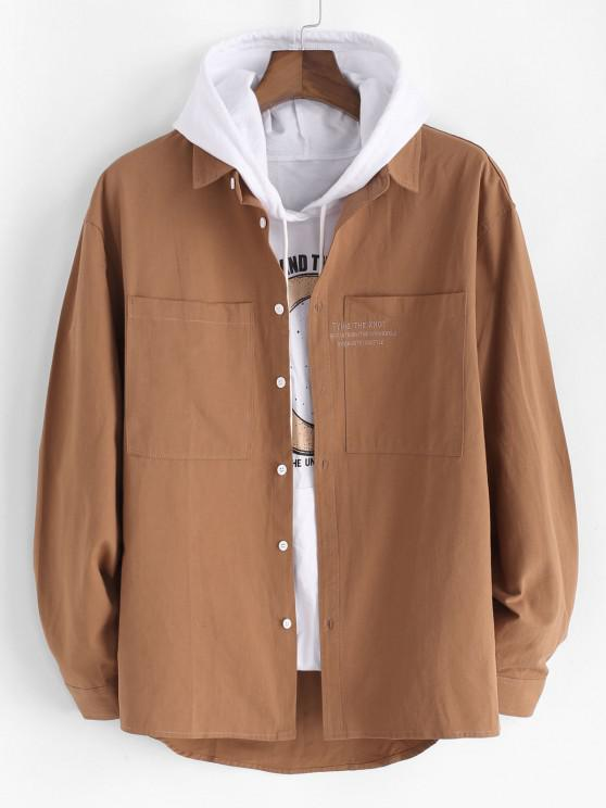 women Embroidery Letter Pocket Patch Shirt Jacket - BROWN XL
