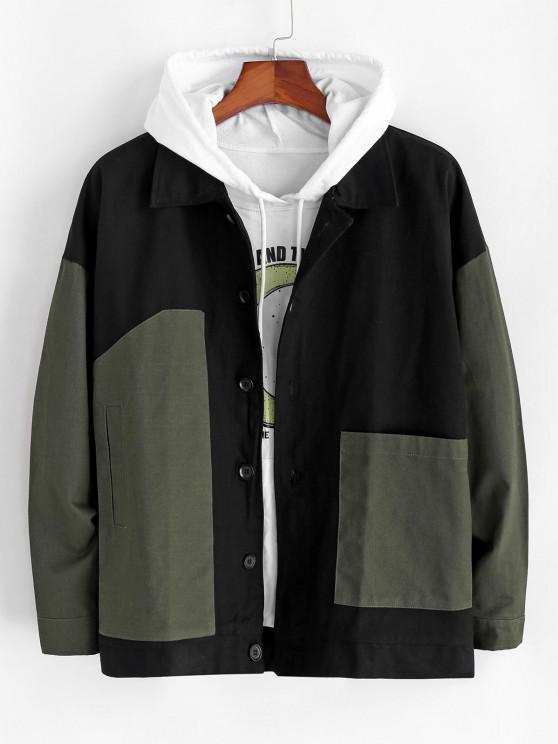 best Colorblock Patchwork Drop Shoulder Jacket - ARMY GREEN L