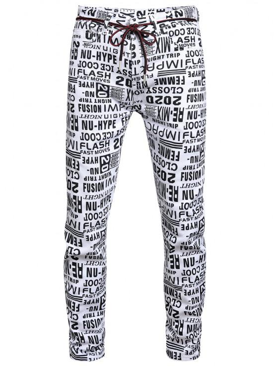fashion Letter Allover Pattern Zip Fly Jeans - MULTI-A 36