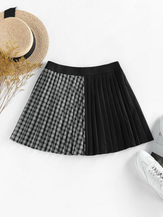 outfit ZAFUL Plaid Pleated Preppy Mini Skirt - BLACK XL