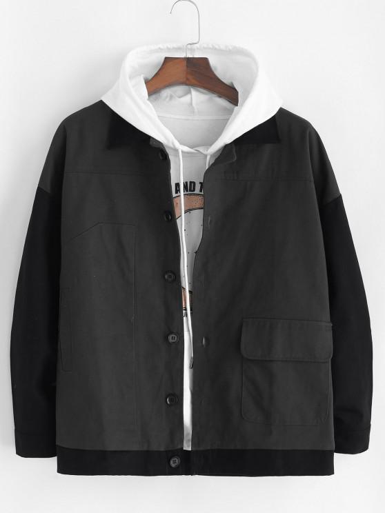 Colorblock Patchwork Panel Button Up Jacket - اللون الرمادي XL