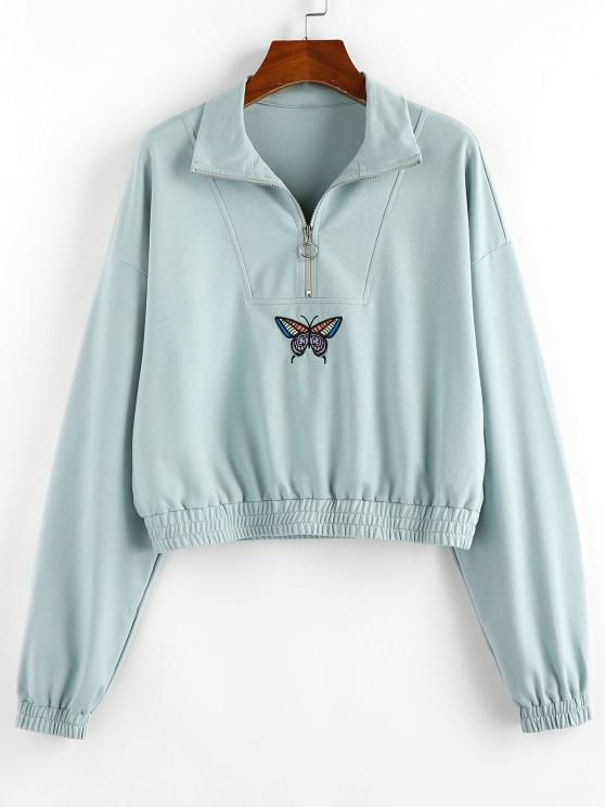 chic ZAFUL Drop Shoulder Butterfly Crop Sweatshirt - CYAN OPAQUE S
