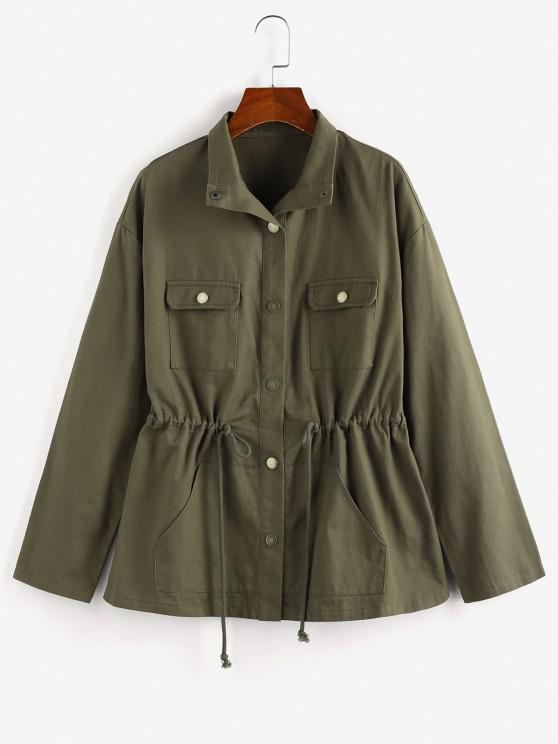 outfits ZAFUL Drop Shoulder Drawstring Waist Pockets Jacket - ARMY GREEN S