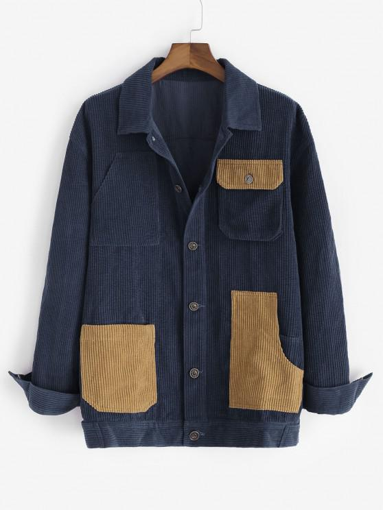 outfit Colorblock Multi Pockets Corduroy Shacket - BLUE XL