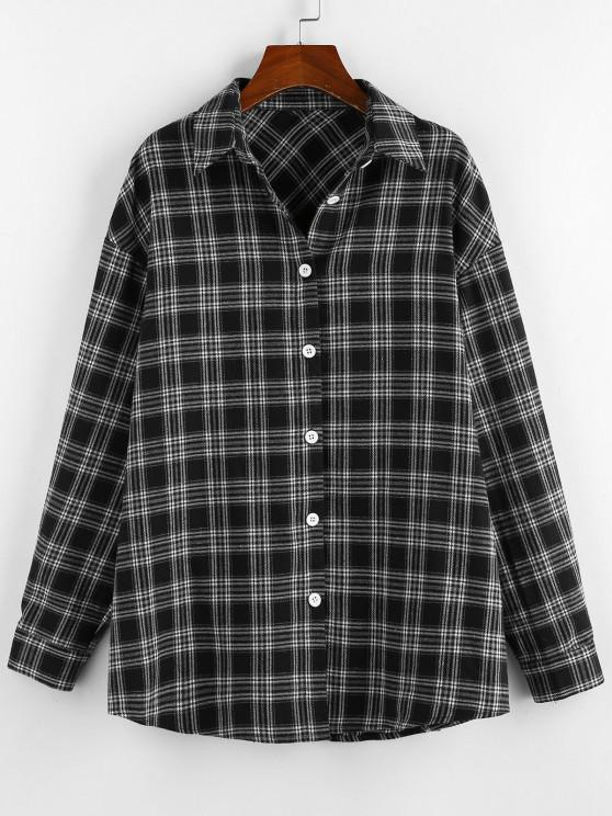 ZAFUL Plaid Drop Shoulder Long Shirt - أسود M