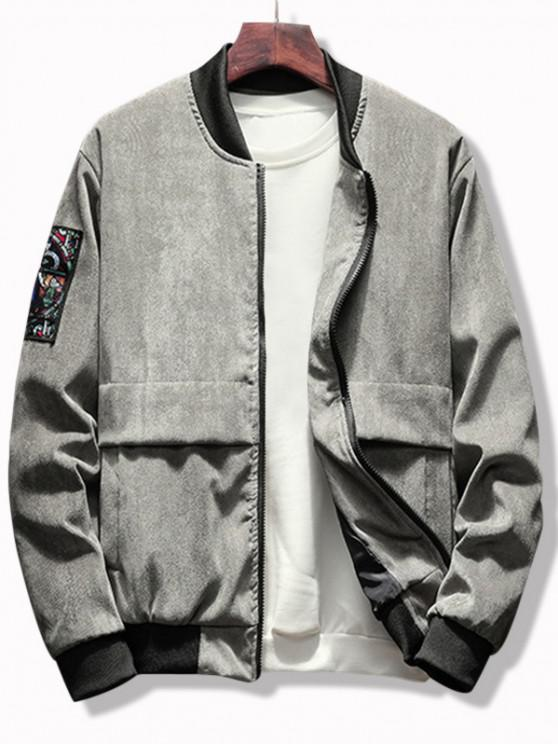 Letter Graphic Renaissance Patched Corduroy Jacket - اللون الرمادي M