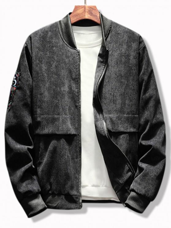 womens Letter Graphic Renaissance Patched Corduroy Jacket - BLACK 2XL