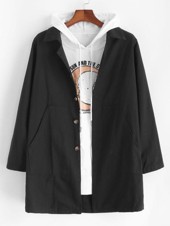 Solid Pocket Patch Long Jacket - أسود XL