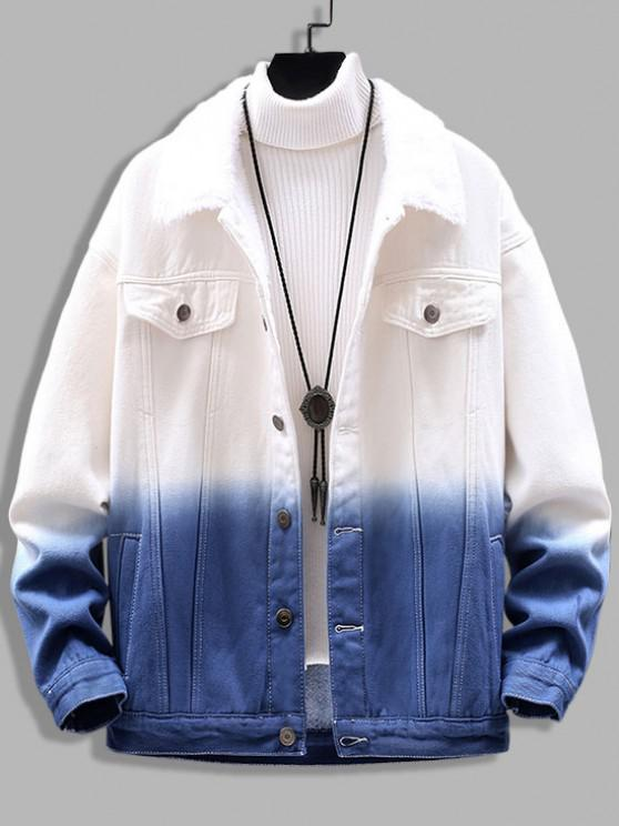 Ombre Print Fluffy Jean Jacket - أزرق L