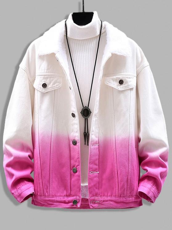 best Ombre Print Fluffy Jean Jacket - PINK 3XL