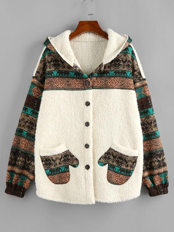 outfit ZAFUL Hooded Tribal Faux Shearling Insert Pocket Jacket - LIGHT KHAKI S