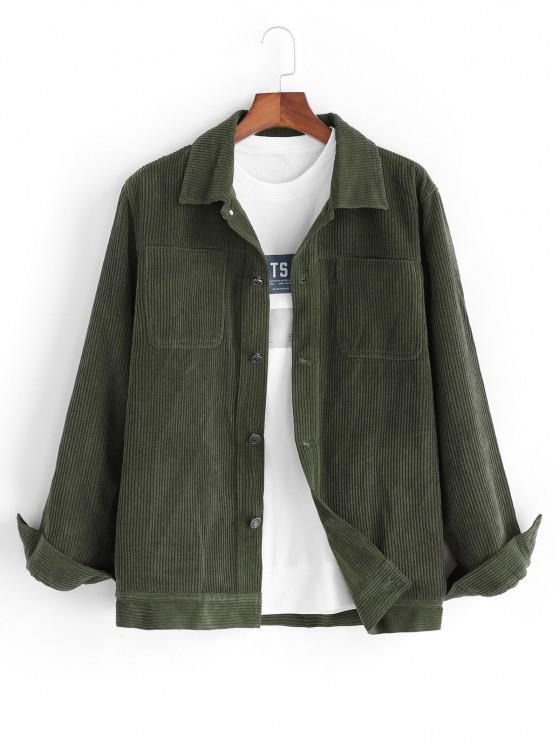 online Corduroy Front Pocket Shacket - DEEP GREEN XL